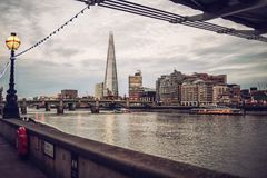 The Shard London Skyline at sunset, River Thames Royalty Free Stock Photography