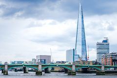 The Shard In The London And Southwark Bridge Over River Thames. The Shard in the London view with Southwark Bridge over River Thames stock photos