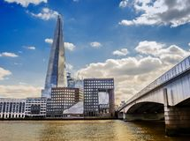 The Shard-3. London, U.K, The Shard view from the River Thames North Bank by London Bridge in summer royalty free stock images