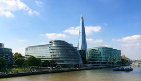 City Hall and Shard by River Thames London Stock Photo
