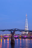 The Shard and the Millennium Bridge Stock Photo