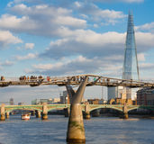 The shard and millennium bridge Stock Photography