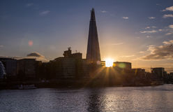 The Shard and modern London cityscape at sunset Stock Photos