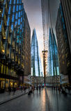 The Shard between office buildings. At sunset, view from More London Royalty Free Stock Photo