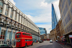 The Shard and old London red Bus Royalty Free Stock Photos