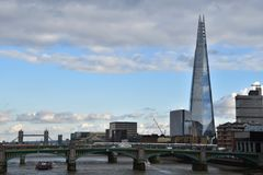 The Shard modern architecture London. The Shard skyscraper is part of the modern architecture in London, view from the Millennium Bridge Royalty Free Stock Images