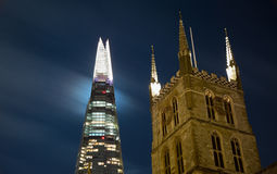 The Shard and Southwark Cathedral by Night Royalty Free Stock Photos