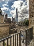 The Shard from The Tower of London. New and Old London view of The Shard from the Tower Royalty Free Stock Image