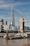 Shard Tower and Tower Bridge in London, England. River Thames, Shard Tower and Tower Bridge in London, England Royalty Free Stock Photography
