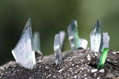 Shards of glass. On top of a wall royalty free stock photos