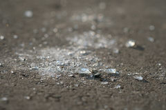 Shards of glass after an accident. On the ground royalty free stock photos