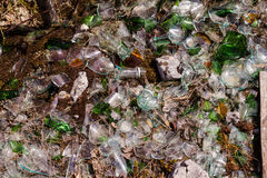 Shards of glass. Bottles on the ground royalty free stock photo