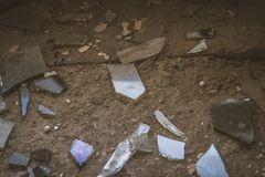 Shards of glass. Of a broken window royalty free stock photos