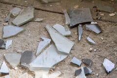 Shards of glass. Of a broken window stock photo