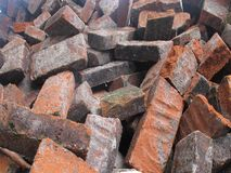 Shards of red bricks on the ground royalty free stock photography