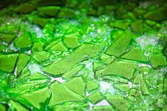 Shards of stain glass candy broken up.  stock image