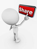 Share. 3d man pressing the share button in red with a chrome frame, on white background, social network data, video, status and photo sharing update concept Royalty Free Stock Photography