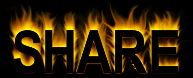 Share. Word in abstract fire Royalty Free Stock Photography