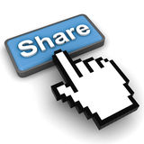 Share Button. With mouse cursor Stock Images