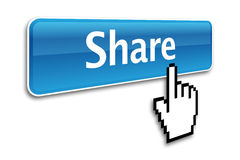 Share button. And hand cursor Stock Images
