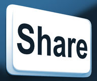 Share Button Shows Sharing Webpage Or Picture Online Royalty Free Stock Photos