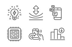 Share call, Communication and Cpu processor icons set. Inspiration, Resilience and Decreasing graph signs. Vector. Share call, Communication and Cpu processor stock illustration