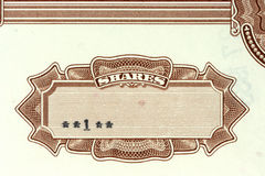Share certificate. Close-up of authentic, vintage shares of an American corporation. 1 share Stock Photos