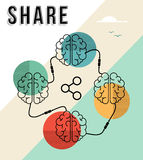 Share concept with connected human brains design Stock Images