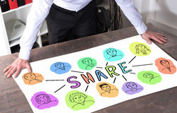 Share concept on a desk Royalty Free Stock Images