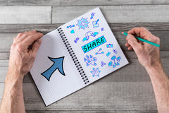 Share concept on a notepad Stock Images