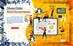 Share data for college and work assignments. Document sharing for workers and businesses, concept vector ilustration. can use for. Landing page, template, ui royalty free illustration