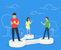 Share data concept illustration. Of young people using mobile smartphone for sharing posts in social networks. Flat people standing on 3d symbol and reposting Royalty Free Stock Photo