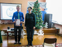 Share emergencies Ministry of Belarus `Safe New year` at one of the schools of the Gomel region. Royalty Free Stock Photography