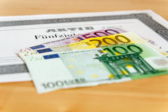 Share with Euro banknotes Stock Images