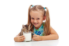 We share everything - me and my little kitten Royalty Free Stock Photos