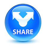 Share glassy cyan blue round button Royalty Free Stock Photos