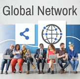 Share Global Icons Network Concept Stock Photo