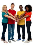We share great bonding and trust. Group of young multicultural friends posing with hands on hands looking at you Stock Photos