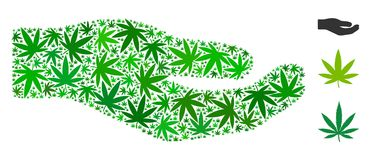 Share Hand Mosaic of Hemp Leaves. In various sizes and green hues. Vector flat hemp icons are composed into share hand mosaic. Herbal vector illustration Royalty Free Stock Photo