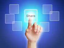 Share. Hand press share button on blue background stock illustration