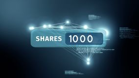 Share icon button. Digitally generated animation of a share icon with increasing numbers while background shows program codes and glowing asymmetrical lines vector illustration