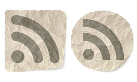 Share icon. Crumpled slip of paper and a share icon Stock Image