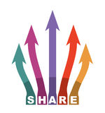 Share icon illustration with arrows. Text and graphics Stock Images