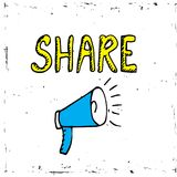 Share icon megaphone - communication and promotion strategy with social media.  Stock Photos