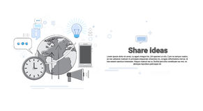 Share Idea Global Business Cooperation Concept Banner Royalty Free Stock Images