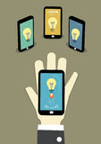 Share idea to network. Three mobile loading lightbulb of idea that big hand sent Stock Photography