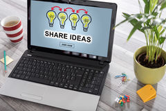 Share ideas concept on a laptop Royalty Free Stock Photo