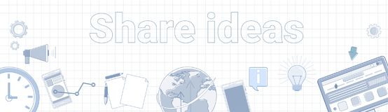 Share Ideas Word On Squared Background Horizontal Banner Royalty Free Stock Image