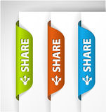 Share Labels / Stickers on the edge of the page Royalty Free Stock Photography