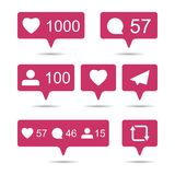 Share, like, comment, repost social media ui icons on white back. Ground. Pink bubble icon set for websites, blog, mobile interfaces stock illustration